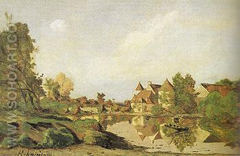 A Farmhouse 1875 - Henri Joseph Hapignies reproduction oil painting