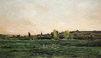 Hamlet on the Seine near Vernon 1872 - Charles Francois Daubigny reproduction oil painting