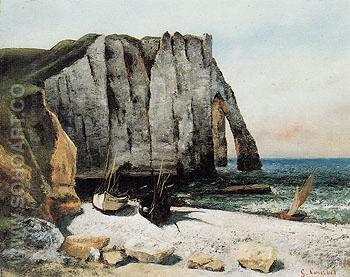 Cliffs at Etretat La Porte Daval 1869 - Gustave Courbet reproduction oil painting