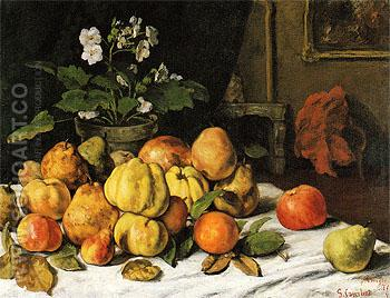 Apples Pears and Primroses on a Table c1871 - Gustave Courbet reproduction oil painting