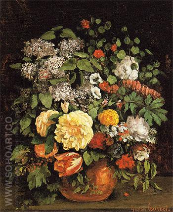 Vase of Lilacs Roses and Tulips 1863 - Gustave Courbet reproduction oil painting