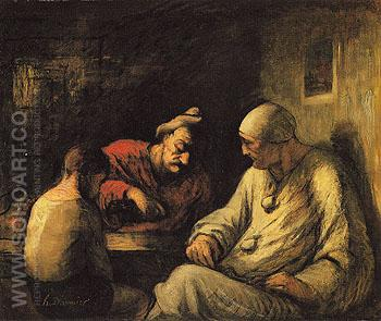 Mountebanks Resting 1870 - Honore Daumier reproduction oil painting