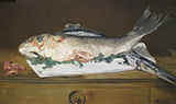 Salmon Pike and Shrimp 1864 - Edouard Manet reproduction oil painting
