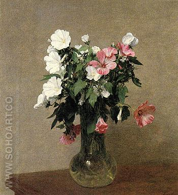 White and Pink Mallows in a Vase 1895 - I Fantin-latour reproduction oil painting