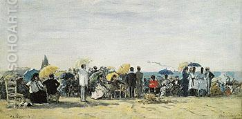 The Beach at Trouville 1873 - Eugene Boudin reproduction oil painting