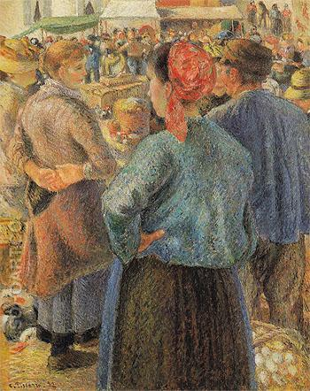 The Poultry Market at Pontoise 1882 - Camille Pissarro reproduction oil painting