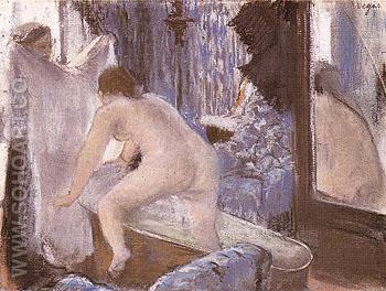 Woman Getting out of The Bath c1877 - Edgar Degas reproduction oil painting