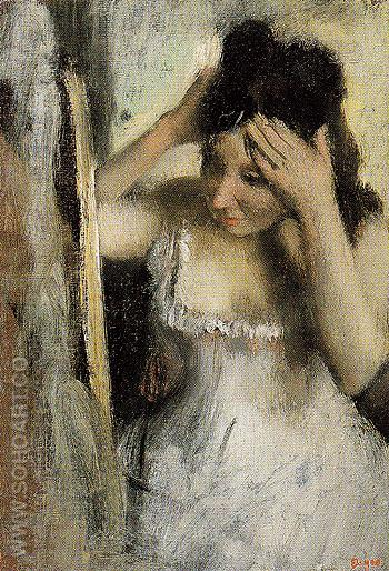Woman Combing Her Hair Before A Mirror c1877 - Edgar Degas reproduction oil painting