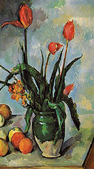 Tulips in a Vase c1890 - Paul Cezanne reproduction oil painting