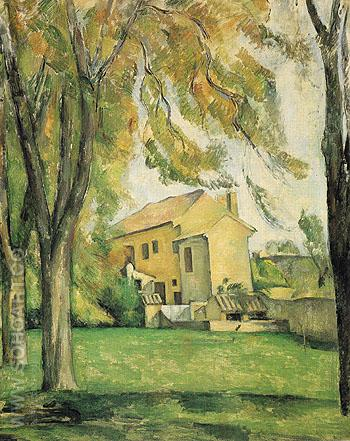 Farmhouse and Chestnut Trees at Jas de Bouffan c1885 - Paul Cezanne reproduction oil painting