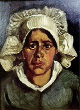 Head of A Peasant Woman in  White Bonnet 1885 - Vincent van Gogh reproduction oil painting