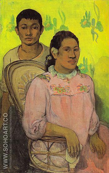 Tahitian Woman and Boy 1899 - Paul Gauguin reproduction oil painting