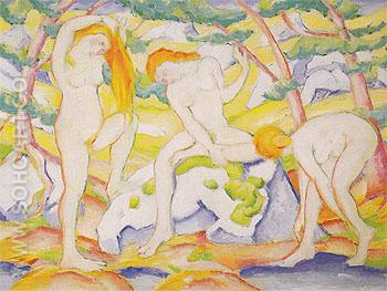 Bathing Girls 1910 - Franz Marc reproduction oil painting