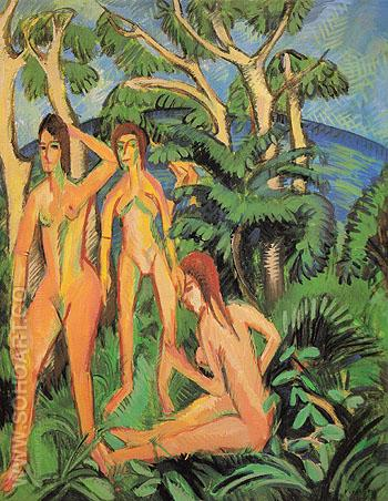 Bathers Beneath Trees Fehmarn - Ernst Kirchner reproduction oil painting