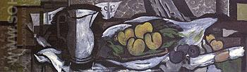 Pitcher Score Fruits and Napkin 1926 - Georges Braque reproduction oil painting
