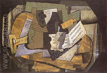 Still Life with the Musical Instruments 1918 - Georges Braque reproduction oil painting
