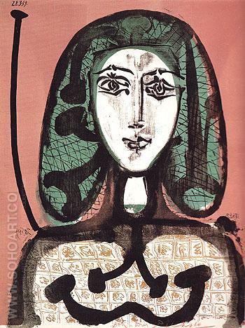 Woman with a Hairnet September 1956 - Pablo Picasso reproduction oil painting