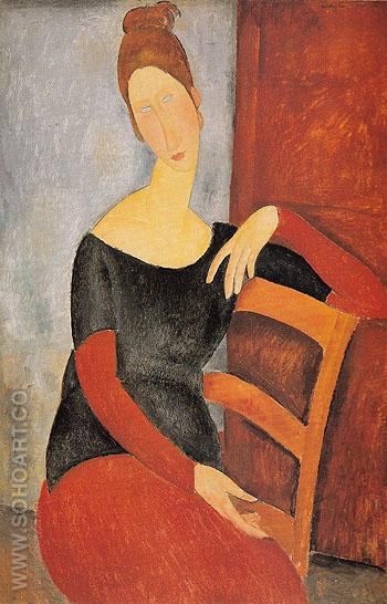 Portrait of the Artists Wife Jeanne Hebuterne 1918 - Amedeo Modigliani reproduction oil painting