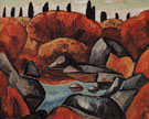 Flaming Pool Dogtown 1931 - Marsden Hartley reproduction oil painting