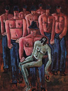 Christ Held by Half Naked Men c1940 - Marsden Hartley reproduction oil painting