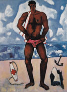 Canuck Yankee Lumberjack at Old Orchard Beach Maine c1940 - Marsden Hartley reproduction oil painting