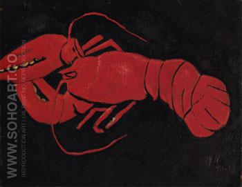 Lobster on Black Background c1940 - Marsden Hartley reproduction oil painting