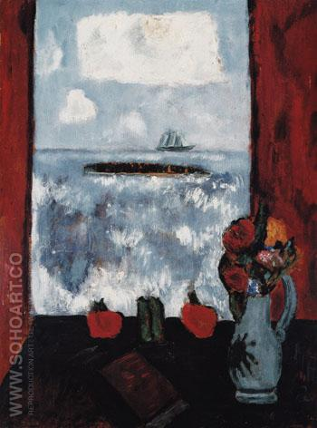 Summer Sea Window Red Curtain 1942 - Marsden Hartley reproduction oil painting
