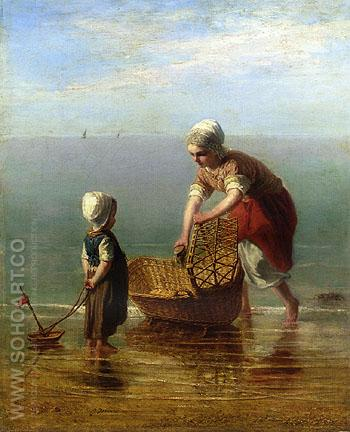 Mother and Child by the Sea - Jozef Israels reproduction oil painting