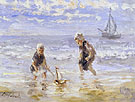 Children and the Sea - Jozef Israels reproduction oil painting