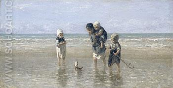 Children On the Beach - Jozef Israels reproduction oil painting