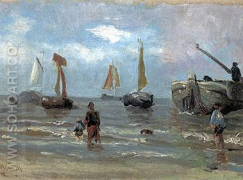 Return of the Fisherboats - Jozef Israels reproduction oil painting