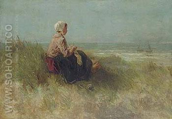 Waiting - Jozef Israels reproduction oil painting