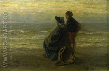 Mother and Child on a Seashore 1890 - Jozef Israels reproduction oil painting