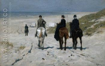 Morning Ride on the Beach 1876 - Anton Mauve reproduction oil painting