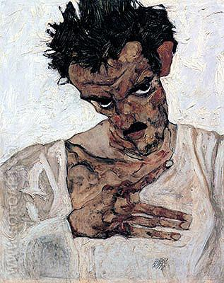 Self Portrait with Lowered Head 1912 - Egon Scheile reproduction oil painting