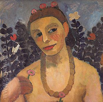 Self Portrait with Amber Necklace 1906 - Paula Modersohn-Becker reproduction oil painting