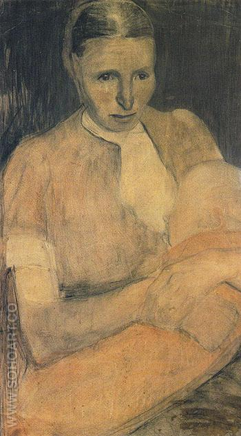 Peasant Woman Nursing  Her Baby 1898 - Paula Modersohn-Becker reproduction oil painting