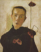 Woman with Poppy c1898 - Paula Modersohn-Becker reproduction oil painting