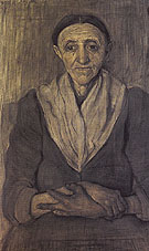 Old Woman Sitting with Her Hands in Her Lap c1899 - Paula Modersohn-Becker reproduction oil painting