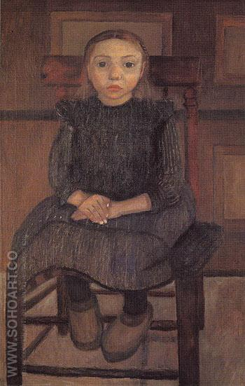 Worpswede Peasant Girl on a Stool 1905 - Paula Modersohn-Becker reproduction oil painting