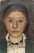Self Portrait with Necklace 1903 - Paula Modersohn-Becker reproduction oil painting