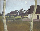 Houses Birch Trees and Moon c1902 - Paula Modersohn-Becker reproduction oil painting