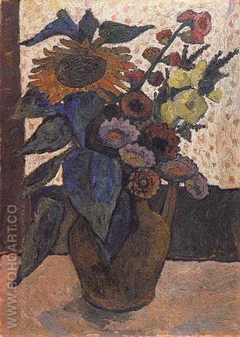 Still Life with Sunflowers 1907 - Paula Modersohn-Becker reproduction oil painting