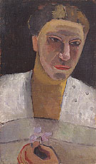 Lee Hoetger with a Flower 1906 - Paula Modersohn-Becker reproduction oil painting