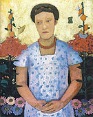 Lee Hoetger in a Garden 1906 - Paula Modersohn-Becker reproduction oil painting