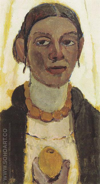 Self Portrait with Lemon c1906 - Paula Modersohn-Becker reproduction oil painting