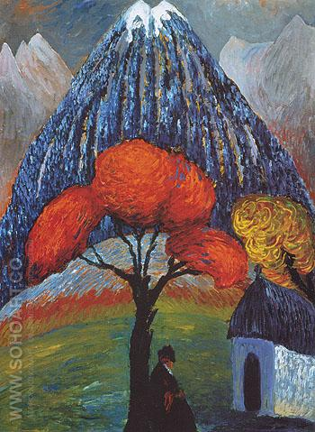 Red Tree 1910 - Gabriele Munter reproduction oil painting