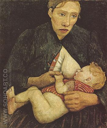 Nursing Mother 1903 - Paula Modersohn-Becker reproduction oil painting