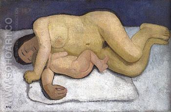 Reclining Mother and Child 1906 - Paula Modersohn-Becker reproduction oil painting