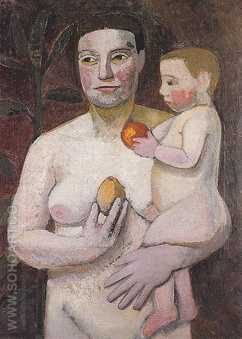 Mother with Baby on Her Arm 1906 - Paula Modersohn-Becker reproduction oil painting